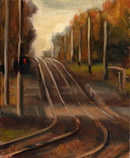 Oil painting of two lines of tram tracks disappearing over the horizon on a hill, with traffic lights in the foreground and trees on either side.
