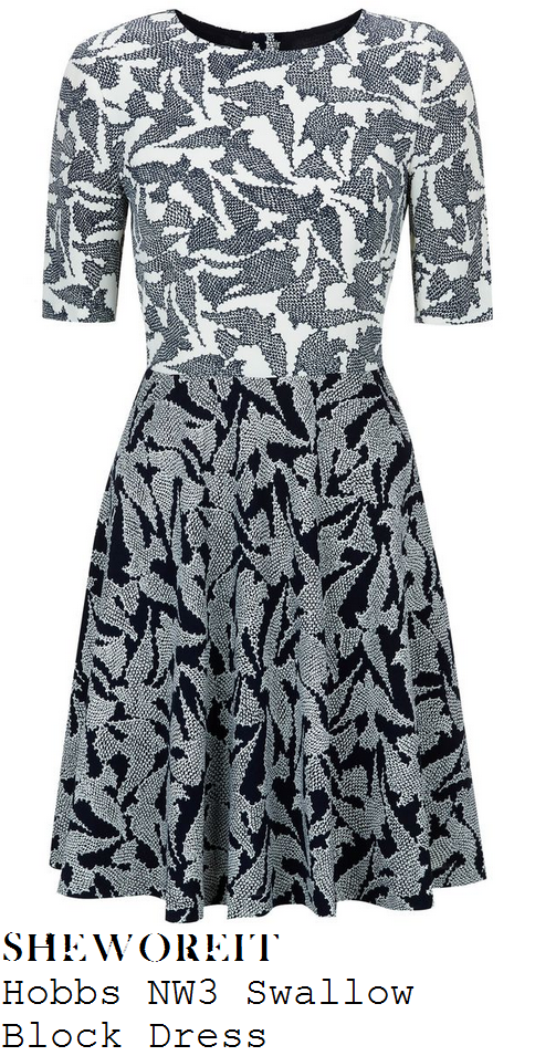 kim-sears-white-navy-and-blue-grey-graphic-dot-swallow-bird-print-dress-wimbledon