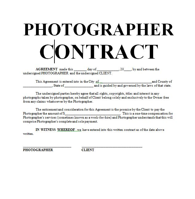 Photography Contract  Sample Contracts  Contract Templates