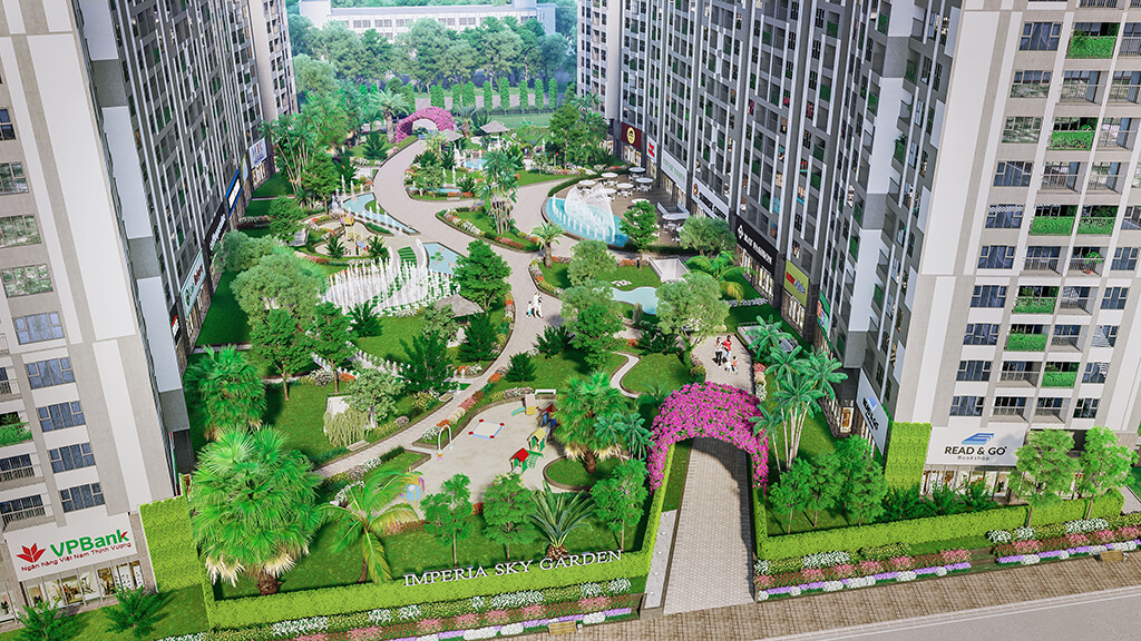 Tiện ích khuôn viên bên trong dự án chung cư Imperia Sky Garden 423 Minh Khai