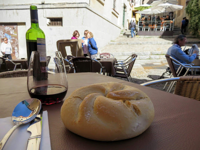 Bread and red wine in Segovia, Spain