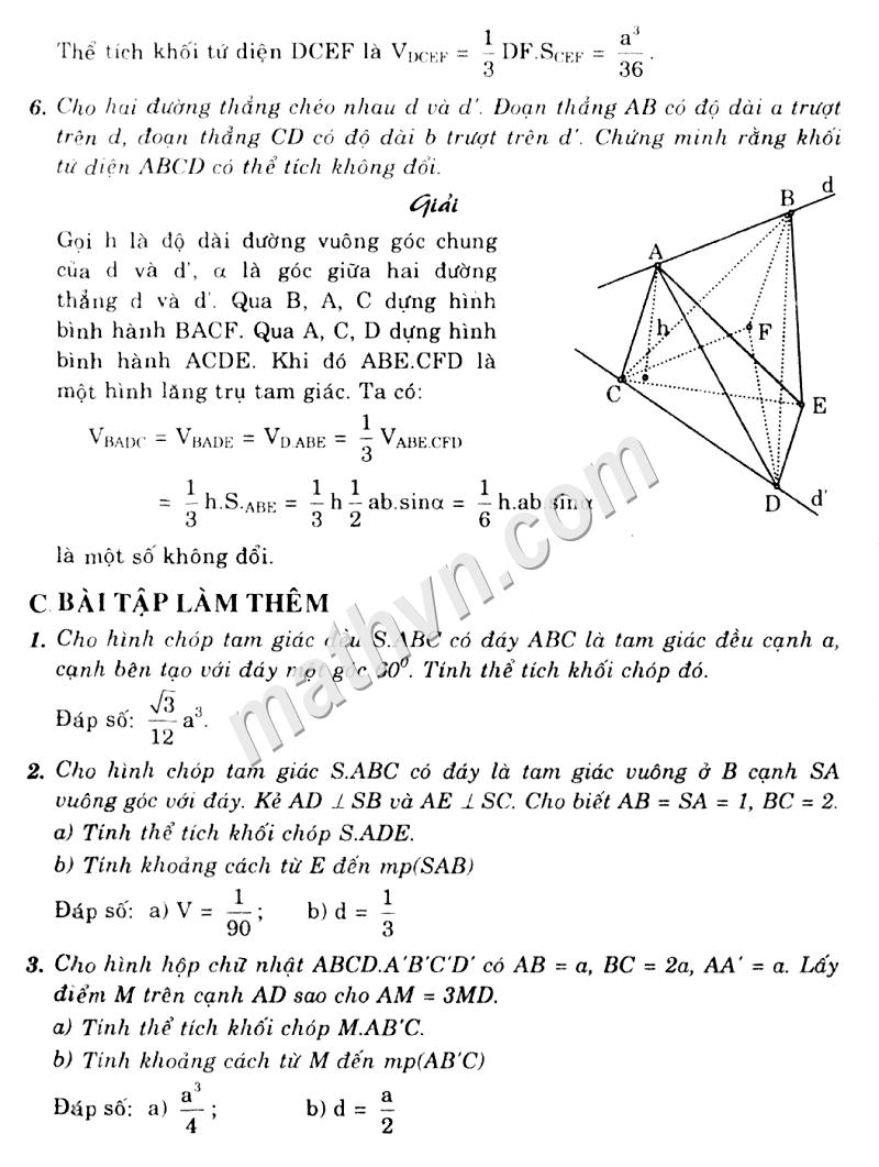 Giải bài tập sách giáo khoa hình học lớp 12 cơ bản chương 1