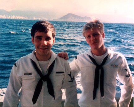 Alphonso and I off Diamond Head, Oahu, Nov 1985 USS Florikan (ASR 9)