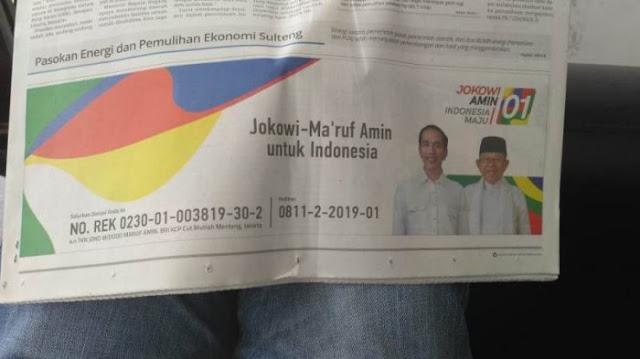 Jokowi-Ma'ruf Diduga Curi Start Iklan Kampanye Media Massa