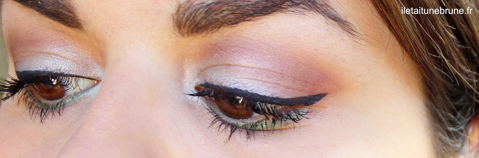 maquillage estival coloré bleu ciel, prune et vert