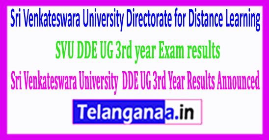 Sri Venkateswara University SVU DDE UG 3rd Year Results Announced 2018