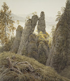 The Rock Gates in Neurathen by Caspar David Friedrich - Landscape Drawings from Hermitage Museum