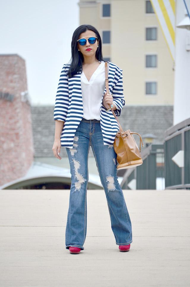 Striped Blazer-Look of the day-MariEstilo-Fashion Blogger-SheIn-LatinaBlogger-ModaElSalvador
