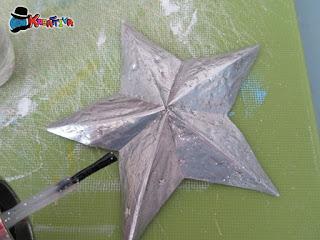stella con lattina antichizzata con smalto per unghie