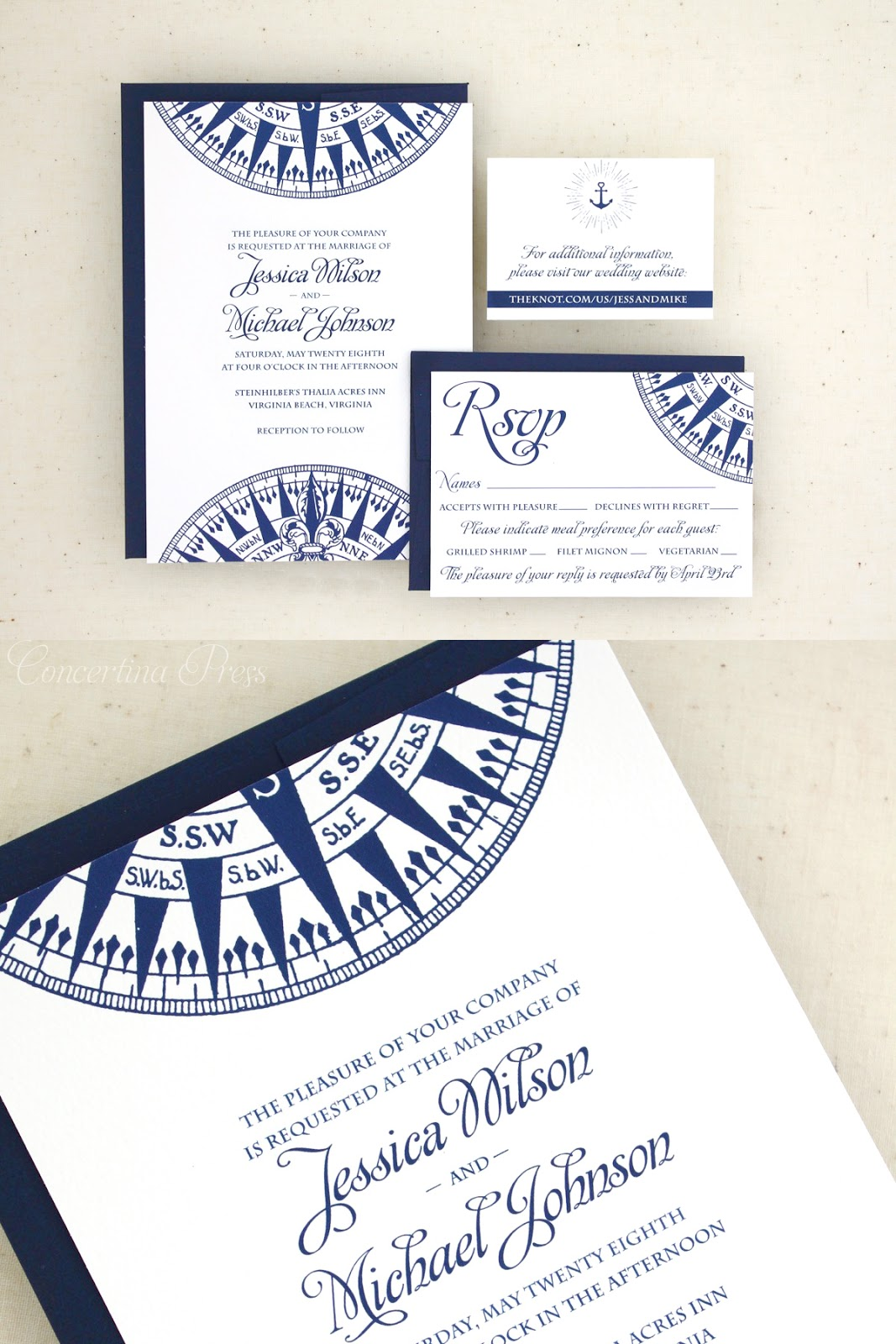 Nautical Wedding Invitation Set from Concertina Press with Compass in Navy Blue
