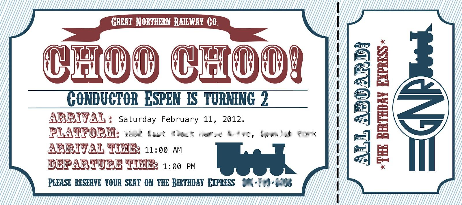 project project train birthday invitation
