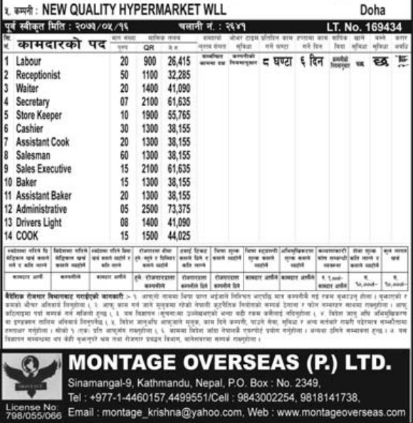 Jobs For Nepali In QATAR Salary -Rs.73,000/