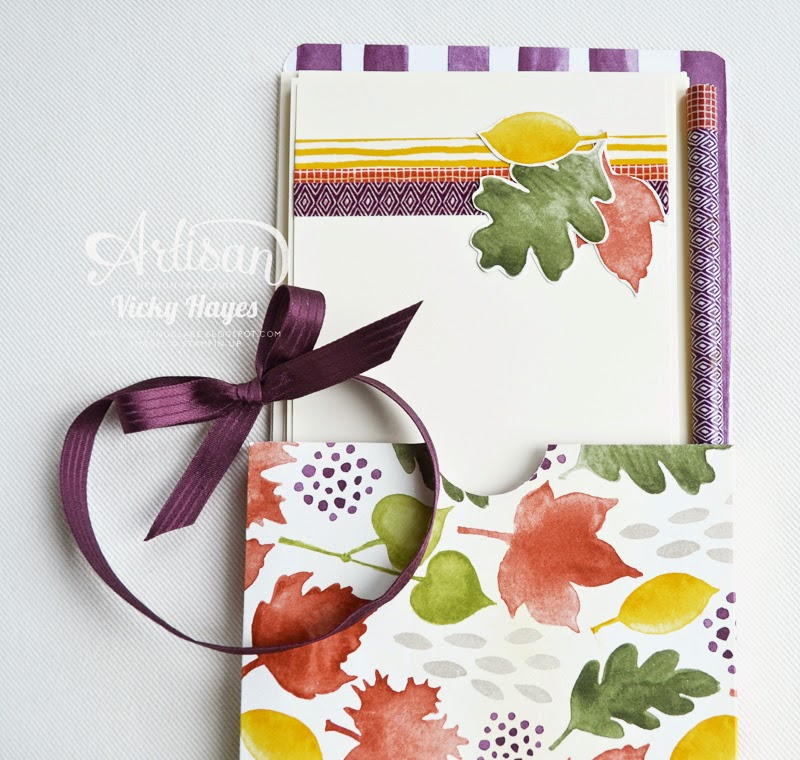 Make a gift box of thank you cards with Color Me Autumn designer paper and washi tape