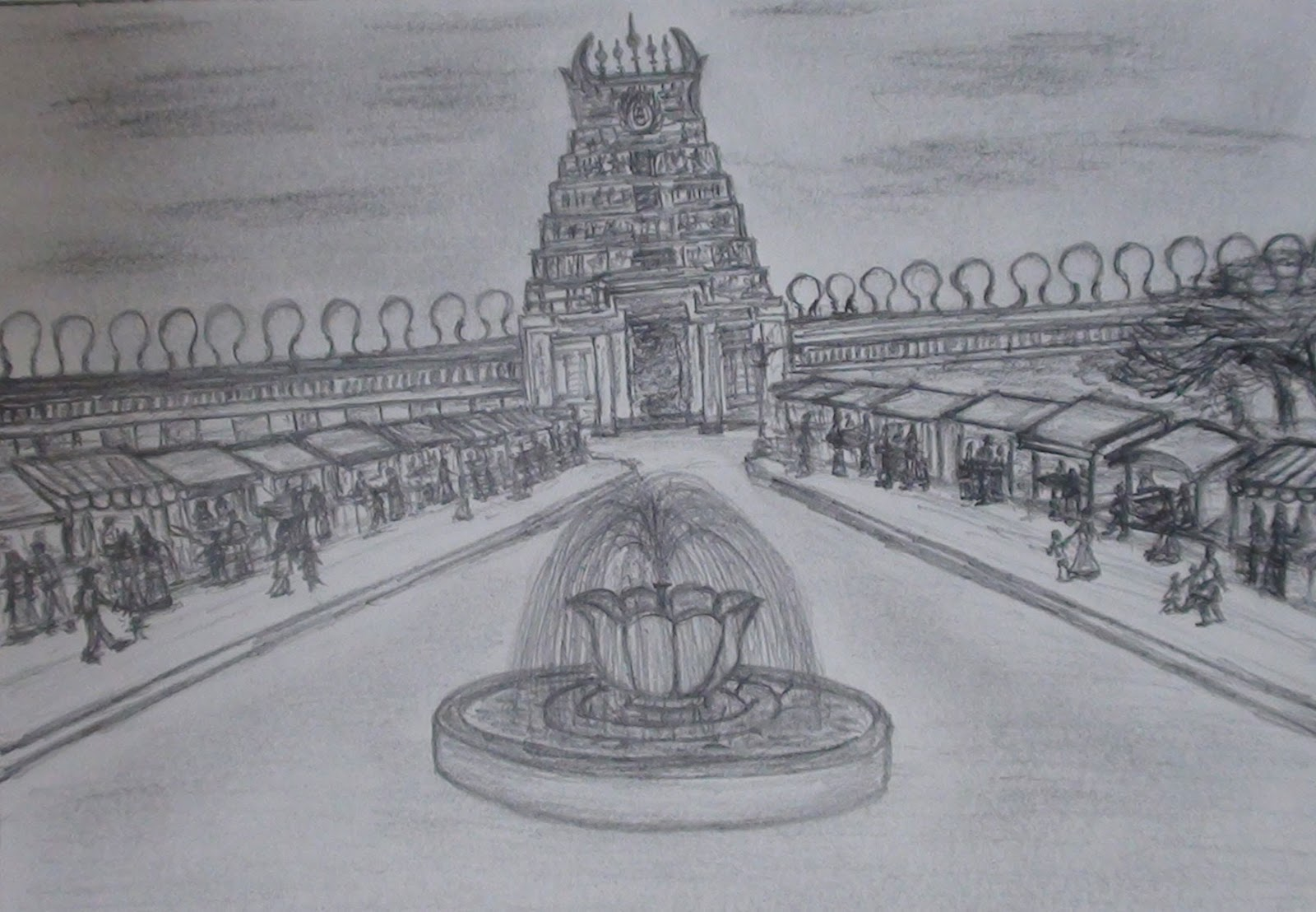 Graphictouch temple pencil sketch