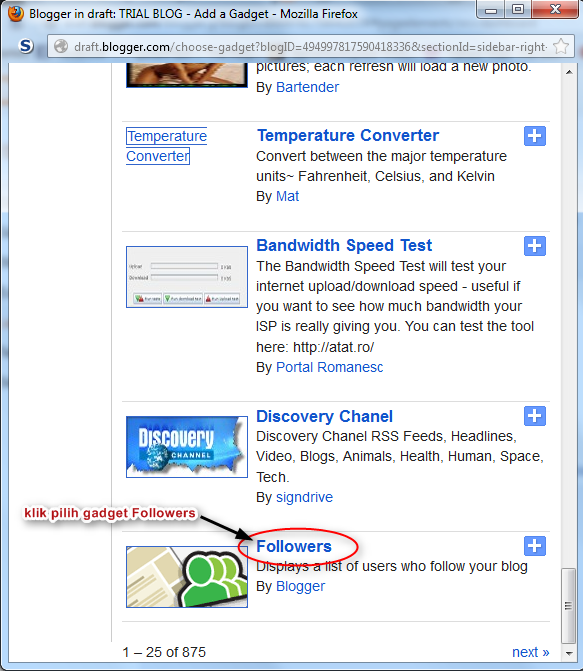 Tutorial : Letak widget Follower untuk Blogger Baru