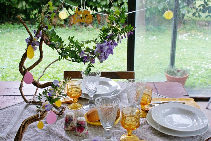 diy easter table decoration spring