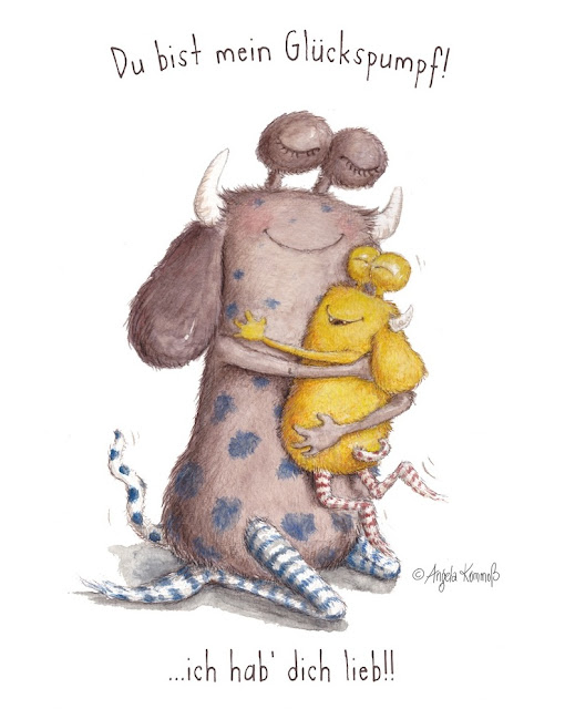 Kinderbuchillustration, Pumpf, Loni lacht, Glücksbuch, Kinderbuch Glück, monster, Glückspumpf, Kommoß