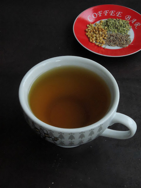 Cumin, coriander and fennel seed tea
