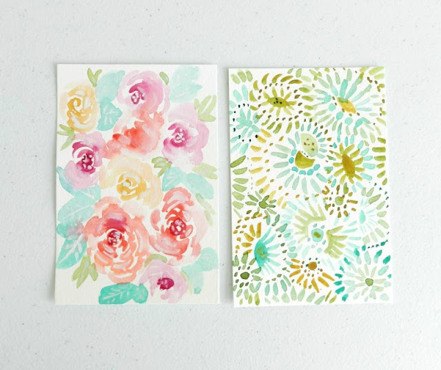 mini flower paintings by Elise Engh