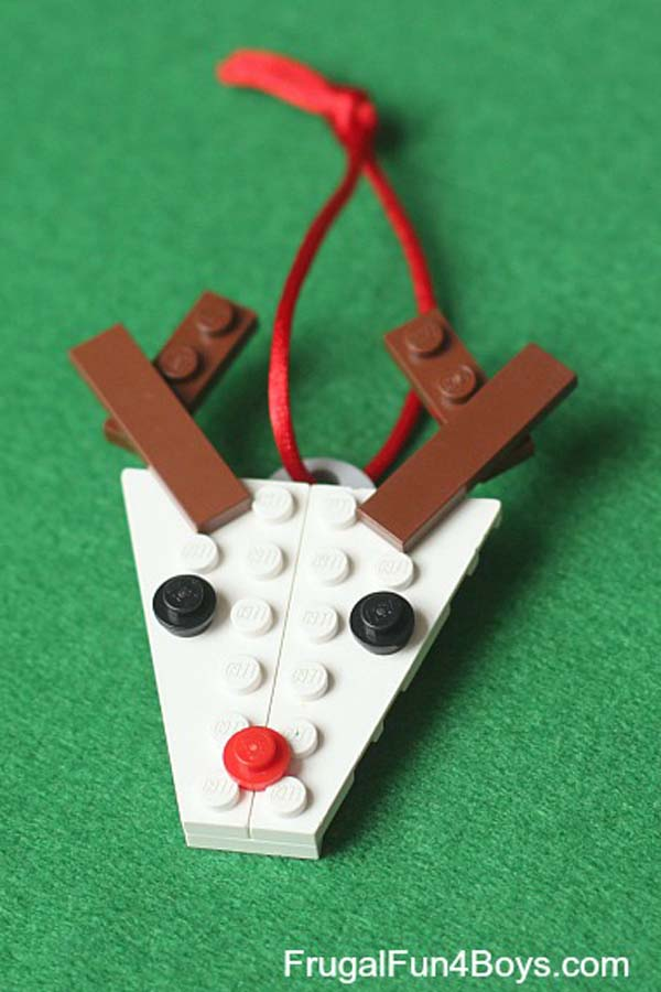 make a LEGO reindeer Rudolph Christmas ornament