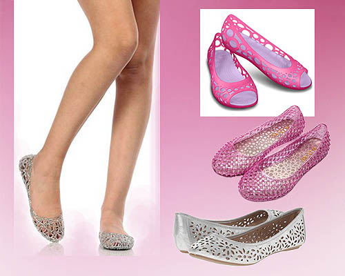sepatu flat dari bahan plastik