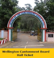 Wellington Cantonment Board Hall Ticket 2017