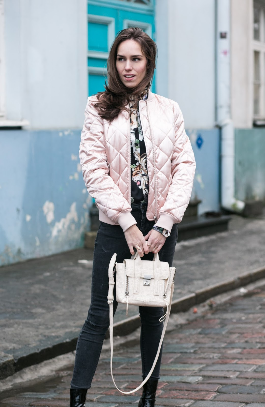pink sating bomber jacket outfit