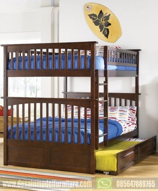 Tempat tidur tingkat minimalis kayu jati asli