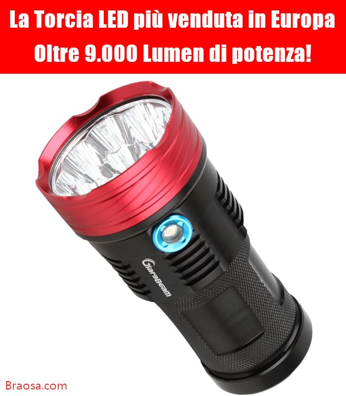 La torcia a LED più potente in circolazione con oltre 10 mila lumen di luminosità.