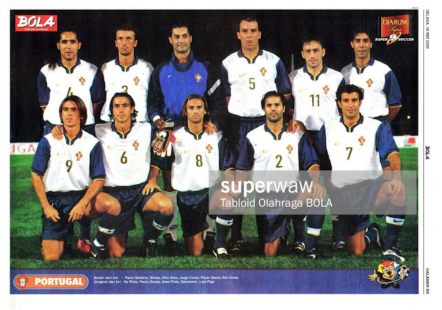 SOCCER PORTUGAL TEAM SQUAD EURO 2000 FOOTBALL
