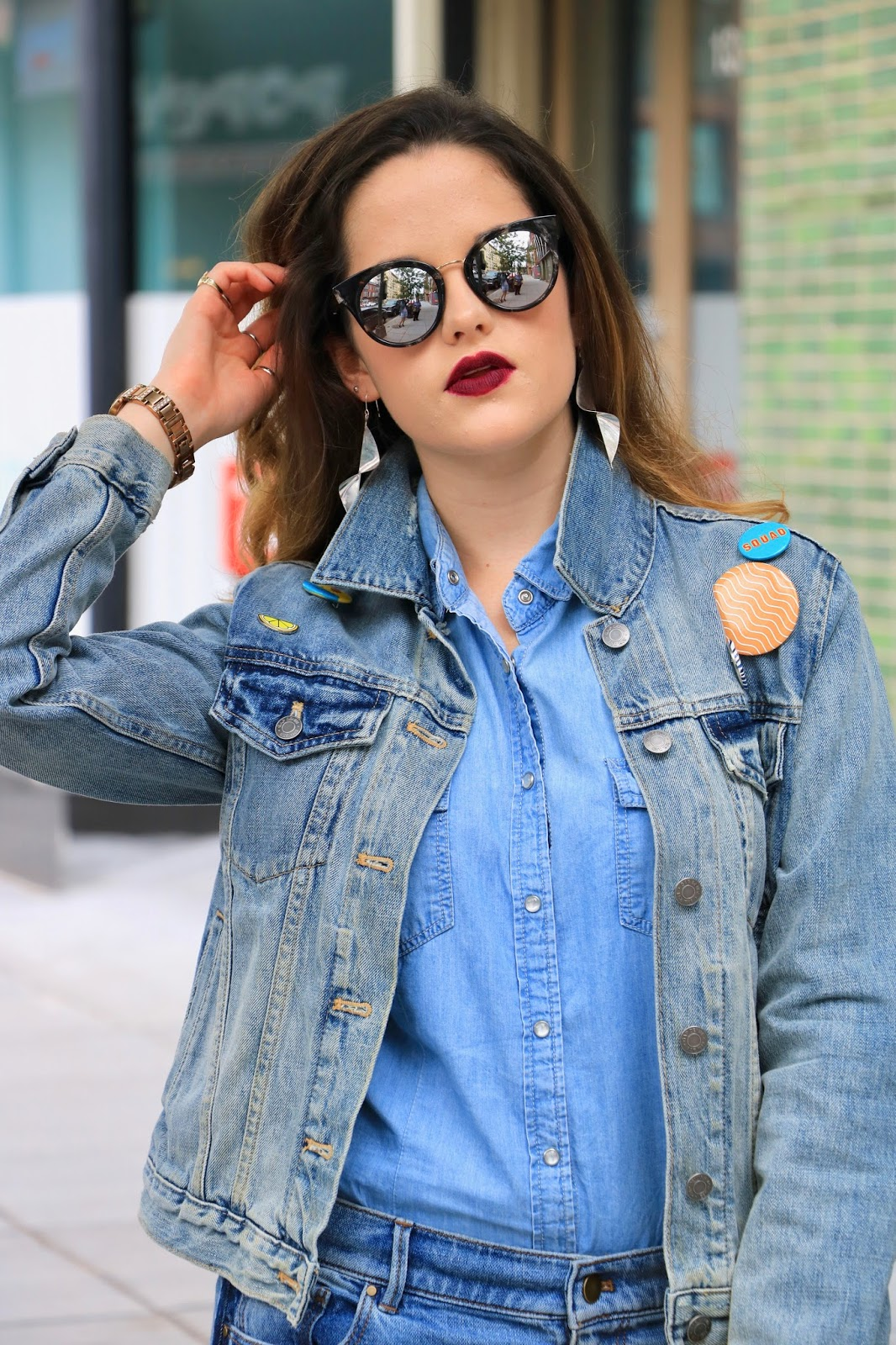 Nyc fashion blogger Kathleen Harper wearing a jean outfit
