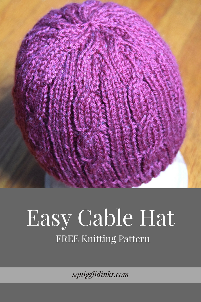 Knitting Pattern Cable Hat Easy : Squigglidinks: Easy Cable Hat Pattern