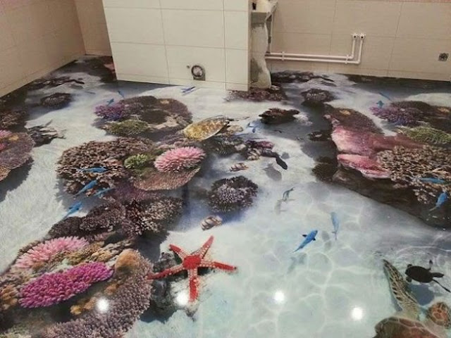 3D floor art for bathroom 3D floors