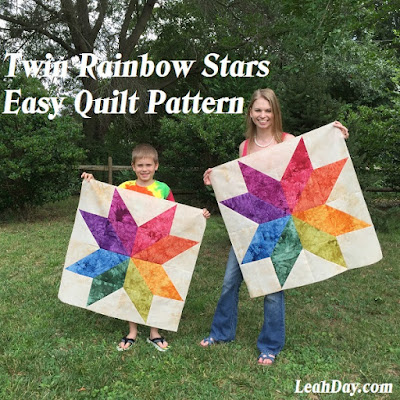 The Free Motion Quilting Project Twin Rainbow Stars Free Quilt Pattern