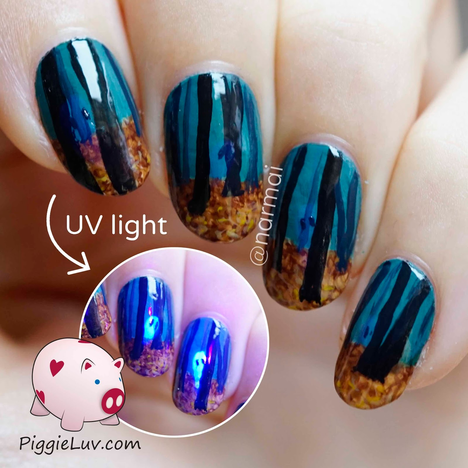 PiggieLuv: Creepy haunted woods nail art for Halloween