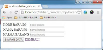 Tutorial codeigniter Insert Data ke Database
