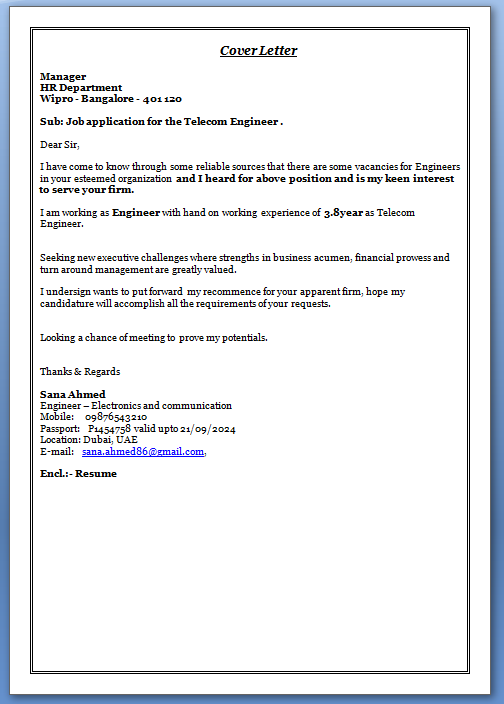 Cover letter for fresher engineer electronics