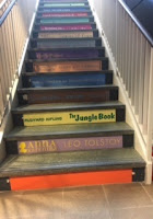 Stair risers with book titles