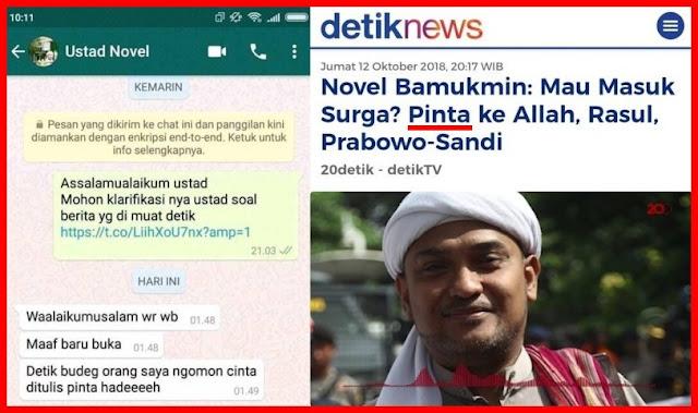 "Novel Bamukmin: <i>Detikcom</i> Budeg, Saya Bilang ""Cinta"", Malah Ditulis ""Pinta"""