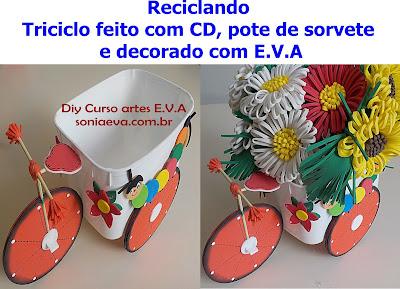 Triciclo feito com CD, pote de sorvete e decorado com E.V.A