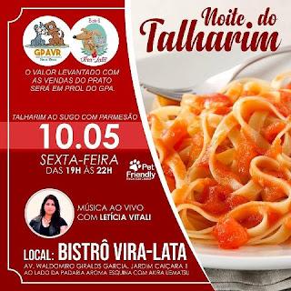 Gpa convida para Noite do Talharim na sexta 10/05, no bistrô Vira Lata, com show de Letícia Vitali