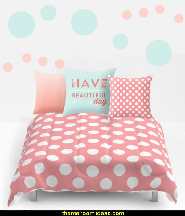 Coral Cream Peach Polka Dot Pattern  bedding  polka dot bedroom decorating ideas - polka dot wall decals -  polka dot bedroom theme - bedroom circles - polka dots decor  - polka dot wall murals - polka dot bedding - Polka Dot decals - polka dot walls -