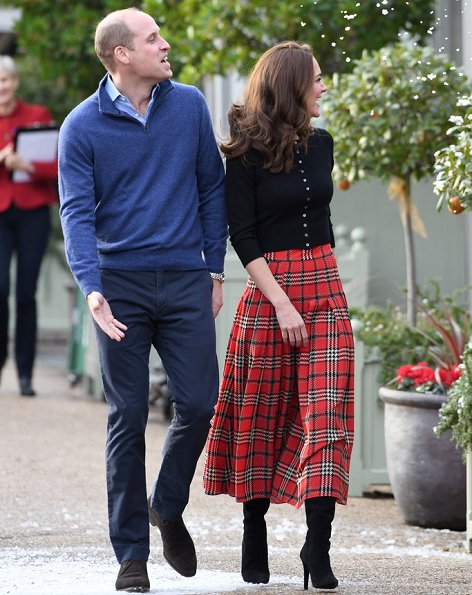 Kate Middleton wore Emilia Wickstead tartan pleated skirt. The Duchess wore a new tartan pleated skirt by Emilia Wickstead