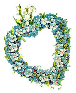 flowers heart digital frame border image