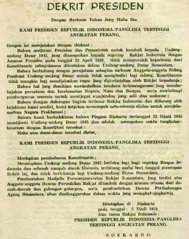 Isi Dekrit Presiden 5 Juli 1959 : dekrit, presiden, Dekrit, Presiden, Lengkap:, Latar, Belakang, Tujuannya