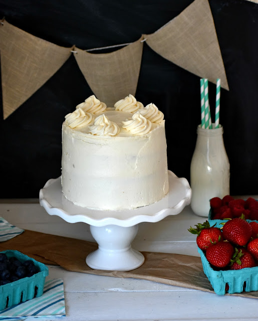 cake decorated with vegan buttercream frosting
