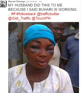 """NIGERIAN MAN BEATS UP HIS WIFE MERCILESSLY FOR SAYING """"BUHARI IS WORKING"""""""