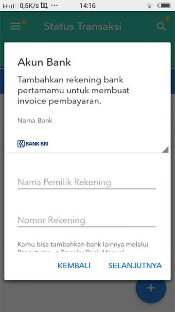 """Cara Mengatur Pengaturan di Aplikasi Selly - Isi Nama Bank, Nama Pemilik Rekening, dan Nomor Rekening. Jika sudah klik """"Selanjutnya""""."""
