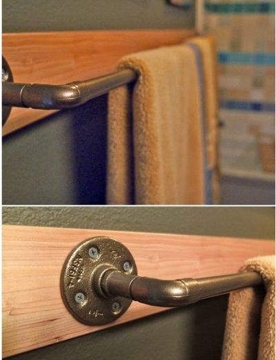 Towel bar/gantungan handuk terbuat dari pipa besi