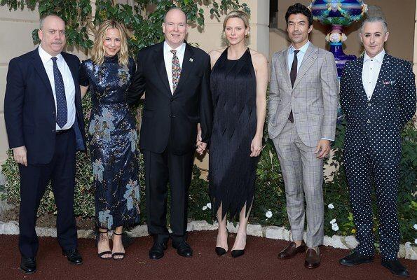 Golden Nymph Award Michael Douglas. Princess Charlene is wearing Carolina Herrera dress. Maria Carolina, Princess Camilla and Maria Chiara